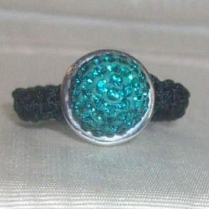 Jewelry - Macrame and Teal Crystal Ring on Gold Plated Sterl